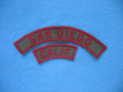 1940's BSA San Diego Calif Council pair of KRS Strip twill patch.