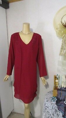 Mother Of The Bride Dress by First Glance-Size 14P Wine Beaded