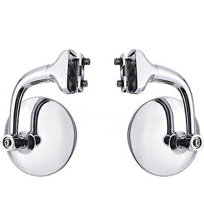 """3"""" Chrome Curved Arm Peep Side Door Glass Mirror Outside Rear View Hot Rod Pair"""