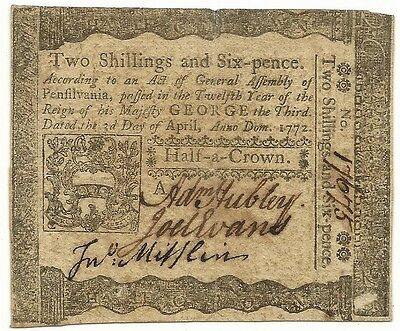 1772 Pennsylvania 2 Shillings 6 Pence Colonial Currency Note - Extremely Fine