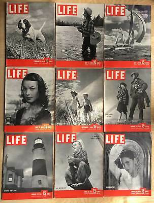 Lot of 9 Vintage 1946 - 1947 LIFE Magazines from WWII era