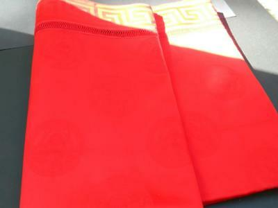 "Gianni Versace 108"" by 70""  Red Medusa Tablecloth & 8 Napkins Cotton Unused Box"