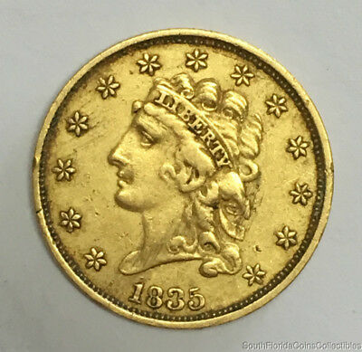 1835 US $2.5 Dollar Classic Head Quarter Eagle Gold Coin Extra Fine Details