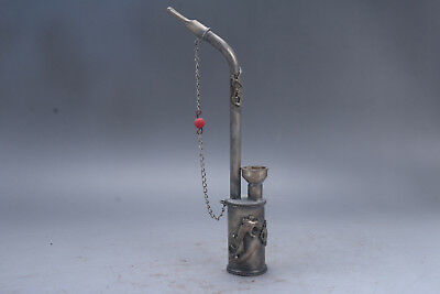 Exquisite Chinese hand carving gecko  brass Smoking tool ad27