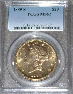 1889-S $20 Gold Liberty PCGS MS62