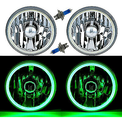 "5-3/4"" Green LED COB SMD Halo Angel Eye Halogen Light Bulb Metal Headlights Pair"