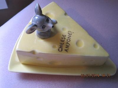 Antique Cute MOUSE at Top BUTTER DISH / CHEESE SAVER Yellow Ceramic Gorgeous #2