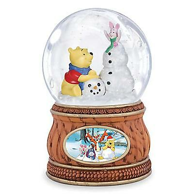 Disney Winnie the Pooh and Piglet with Snowman Musical SnowGlobe