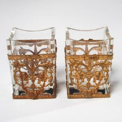 Pair Of Vintage Poss. Antique French Empire Style Crystal/brass Toothpick Cups