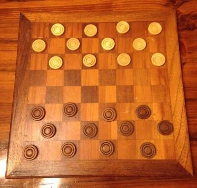 Vintage Antique Wooden Checkerboard Chess board with Wood Checker Pieces