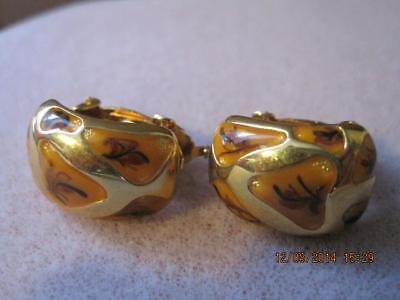 BUTLER Fifth Avenue Collection FAC Flower Bits Pattern Gold Tone Clip Earrings