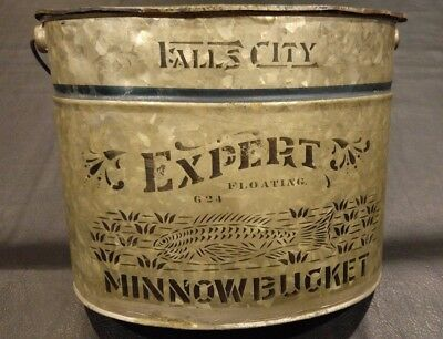 Early Stenciled Falls City Expert  Oval Floating Minnow Bucket