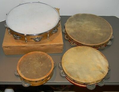 Vintage Tambourine Hand Percussion Instrument Lot Of 4 With One In Box