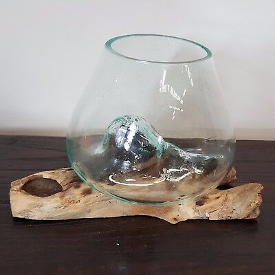 Hand Carved Gamal Wood Recycled Blown Glass Bowl Vase Water Fish Small - 103D