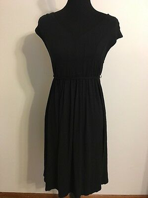 LIz Lange Maternity Dress Sleeveless V-Neck Black Size Medium