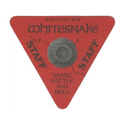 Whitesnake authentic 1987 Snake Rattle & Roll Tour backstage pass staff red