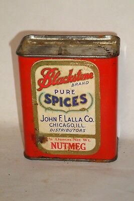 Nice Old Paper Label Blackstone Nutmeg Advertising Spice Tin Can