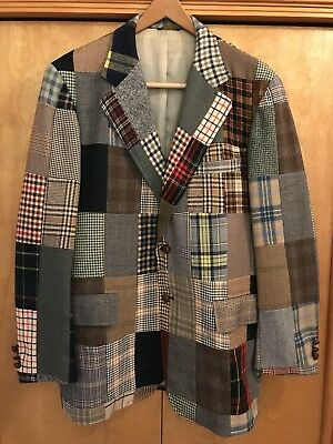 Vintage CORBIN LTD Patchwork Sport Coat Mens Plaid Size L Forbes, Quincy, ILL