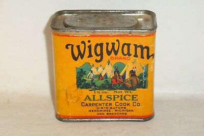 Nice Old Cardboard Wigwam Brand Allspice Advertising Spice Tin Can