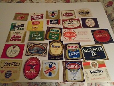 """Lot Of (25) Diff Vintage """"usa"""" East Coast Beer Labels -Mint"""