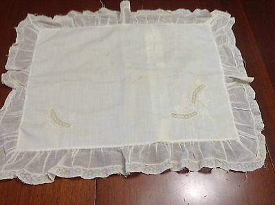 Feltman Brothers Ivory Batiste Lace Edge Embroidered Infant Pillow-Case