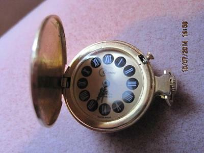 Vtg KALTRON Swiss Made Wind Up Pocket / Pendant Ladies Watch Ornate Case WORKS