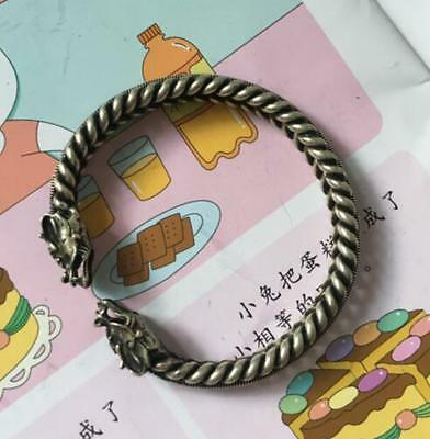China Handwork Miao Silver Carving Dragon Wonderful Noble Bracelet
