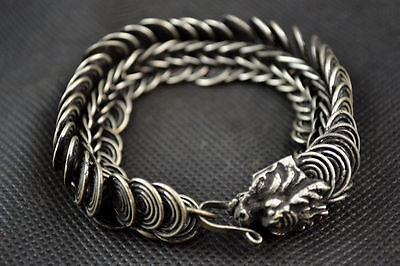 China Old Handwork Miao Silver Carving Dragon Wonderful Noble Bracelet