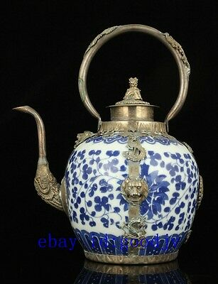 Collectible Old Handwork Inlaid Tibet Silver Blue And White Porcelain Teapot