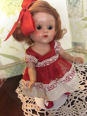 Vogue early Ginny doll with beautiful tosca side part hair and very dark
