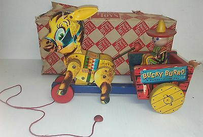 Vintage 1950's Fisher Price Wooden Pull Toy Bucky Burro #166 with box