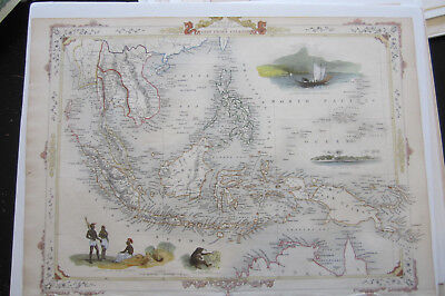 East India Islands - Tallis's Illustrated Atlas,Fine Hand Colored Engraving 1851