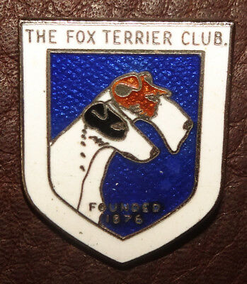 Vintage Fox Terrier Club Pin Founded 1876 Enamel Badge Purebred Dog