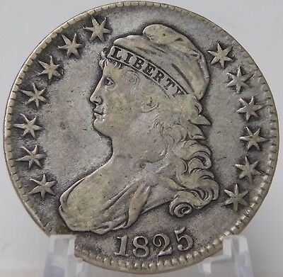 1825 Capped Bust Half Dollar Lettered Edge In A Solid Fine