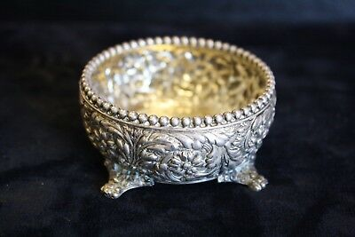 Tiffany & Co Sterling Silver Repousse Antique Footed Bowl 2.5'' 82.1grams