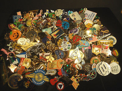 Huge Lot of 190 Mixed Lapel Hat Tac Pins Advertising Sports Military Flag Travel