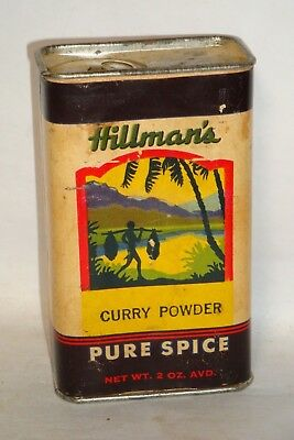 Nice Old Cardboard Hillman's Brand Curry Powder Advertising Spice Tin Can