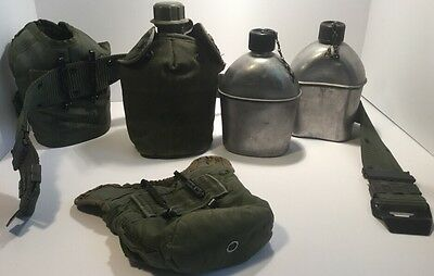 U.S. WW2 Lot Of Canteens 1943 and 44  Vollrath Canteen Belt & Clip, Water Covers