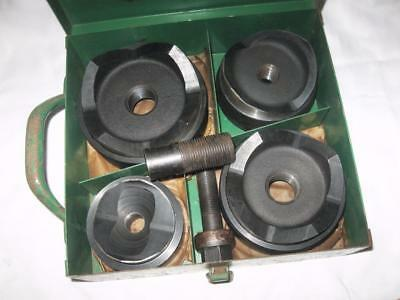 "Vintage Greenlee 7304 Round Conduit Knockout Punch Set, 2-1/2"", 3"", 3-1/2"", 4"""