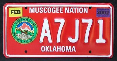 Muscogee Nation Indian Tribe '02 License / Number Plate A7J71