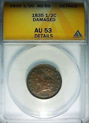 1835 1/2c Classic Head Half Cent ANACS AU53 detail rare old type coin money