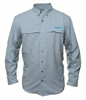 Shimano Long Sleeve Vented Fishing Shirt Upf30+ Gray Xxxl New