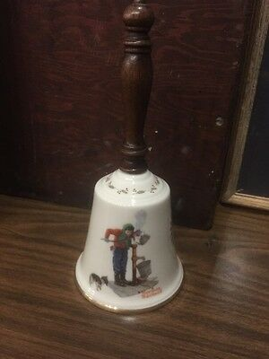 Vintage Gorham Fine China Large Bell Norman Rockwell Chilling Chore 1977 Xmas