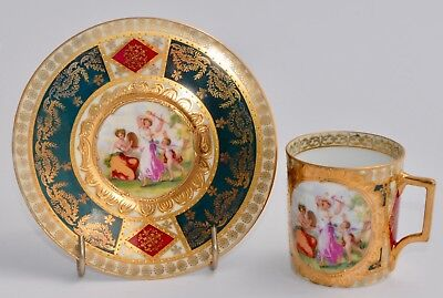 Superb Vintage ROYAL VIENNA Demitasse Cup & Saucer (Coffee Can) - Green/Red/Gold