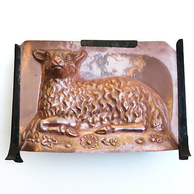 RARE Antique LARGE Copper Chocolate Mold Classic Sitting Lamb ~ AAFA