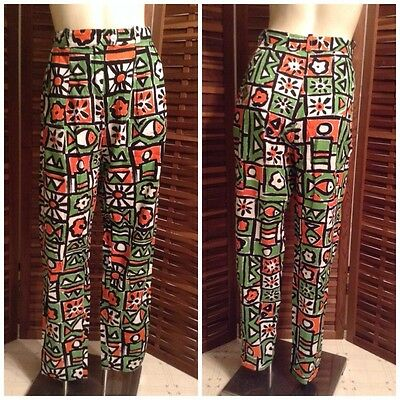 Vintage French Henry Leparque Retro Graphic Print High Waisted Cigarette Pants