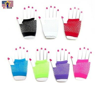 Neon Tone Fishnet Fingerless Wrist Gloves Sleeves Punk Fashion Costume 80s Style