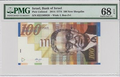 ISRAEL, 2014, 100 New Sheqalim . High Graded  PMG 68 EPQ .Superb Gem UNC