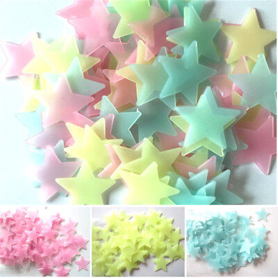 100PCS/Lot Kids Bedroom Fluorescent Glow In The Dark Stars Wall Stickers Gift