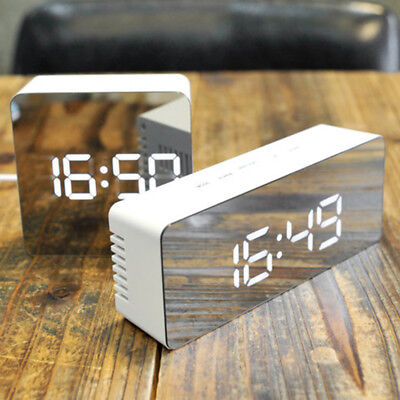 Rechargeable Digital Mirror Alarm Clock USB LED Night Light Thermometer Table